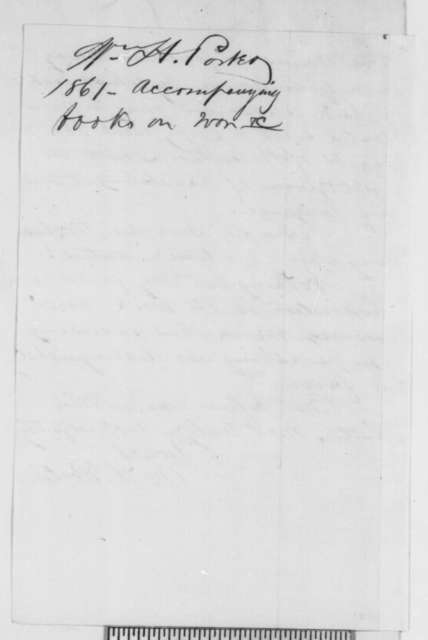 William H. Porter to Abraham Lincoln, Wednesday, April 03, 1861  (Sends book on war)