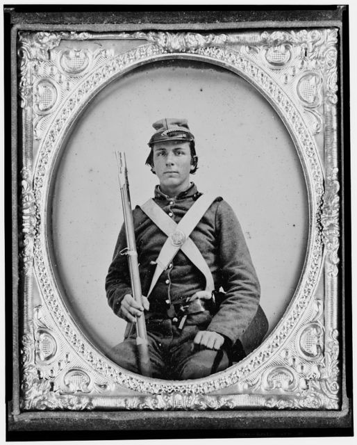 [William H. Rockwell, Pvt., North Carolina, 18th Infantry, Company H, three-quarter length portrait, facing front]