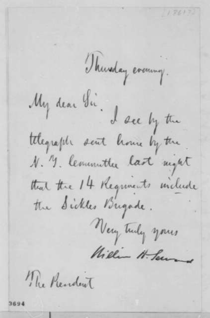 William H. Seward to Abraham Lincoln,  1861  (Military affairs)
