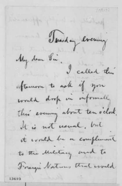 William H. Seward to Abraham Lincoln,  1861  (Requests Lincoln's attendance at a reception)