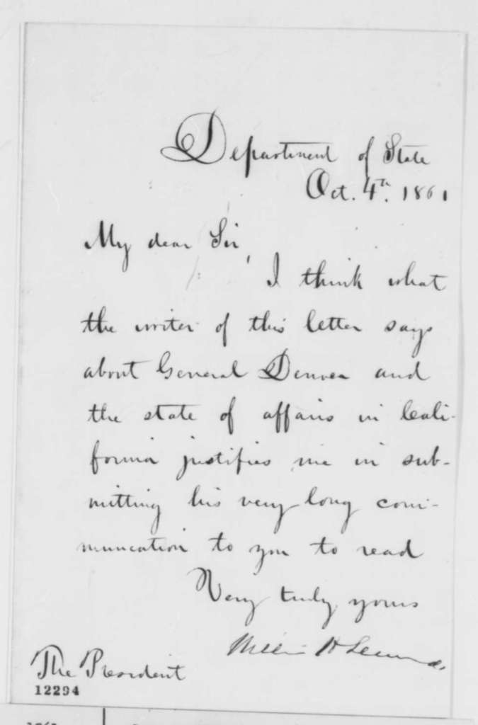 William H. Seward to Abraham Lincoln, Friday, October 04, 1861  (Cover letter)