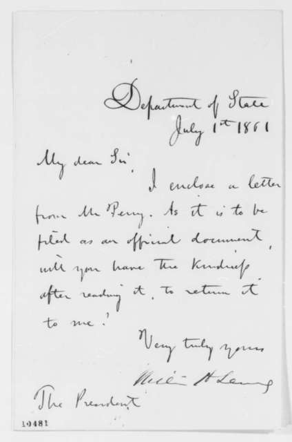 William H. Seward to Abraham Lincoln, Monday, July 01, 1861  (Cover letter)