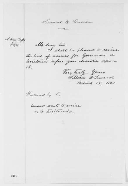 William H. Seward to Abraham Lincoln, Monday, March 18, 1861  (Territorial patronage)