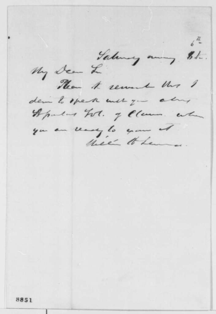 William H. Seward to Abraham Lincoln, Saturday, April 06, 1861  (Appointments)
