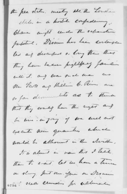 William H. Seward to Abraham Lincoln, Sunday, January 27, 1861  (Cabinet appointments)