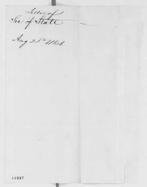William H. Seward to Abraham Lincoln, Thursday, August 22, 1861  (Suppression of Baltimore newspaper)