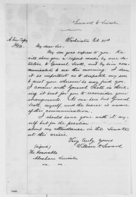 William H. Seward to Abraham Lincoln, Thursday, February 21, 1861  (Forwards Gen. Scott's report on danger in Baltimore)