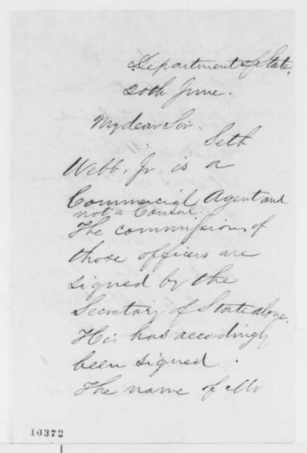 William H. Seward to Abraham Lincoln, Thursday, June 20, 1861  (Signing of commissions)
