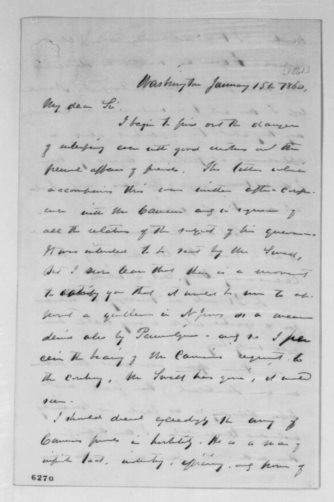 William H. Seward to Abraham Lincoln, Tuesday, January 15, 1861  (Cabinet appointments)