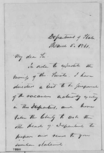 William H. Seward to Abraham Lincoln, Tuesday, March 05, 1861  (Treasury Dept. patronage)