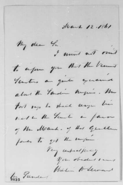 William H. Seward to Abraham Lincoln, Tuesday, March 12, 1861  (Appointment to Sardinia)