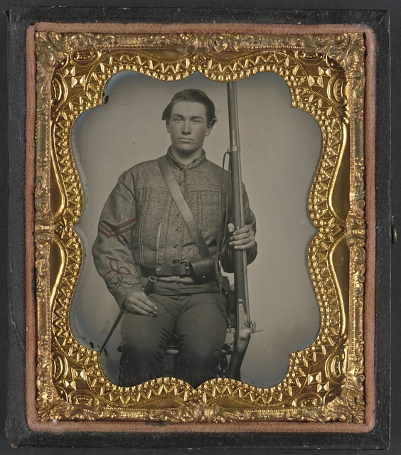 [William Jenkins, North Carolina soldier, in artillery uniform, with percussion musket converted from a flintlock musket]