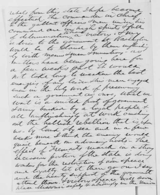 William K. Strong to Abraham Lincoln, Thursday, October 24, 1861  (Situation in Missouri)