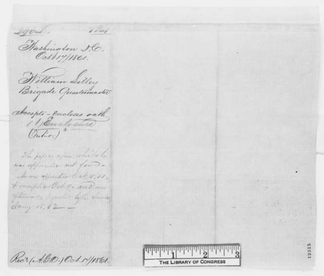 William Lilley to Joseph Holt, Thursday, October 17, 1861  (Commission as quarter master)
