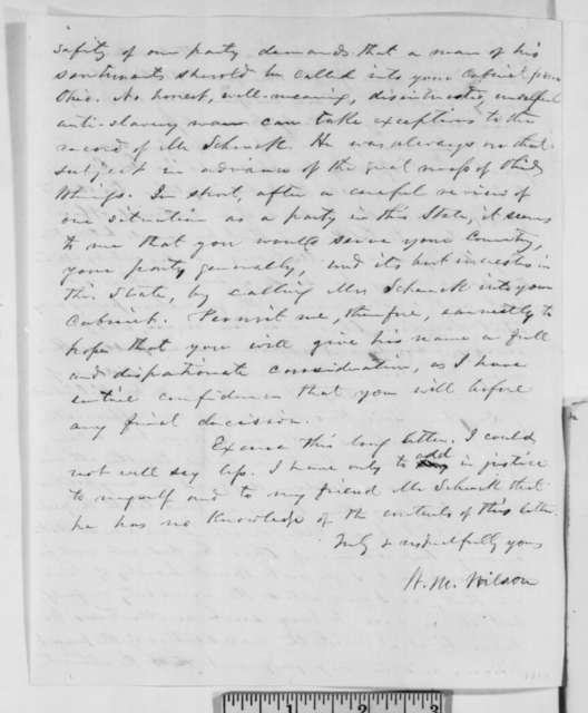 William M. Wilson to Abraham Lincoln, Saturday, January 19, 1861  (Opposes Chase and favors Robert Schenck for cabinet)