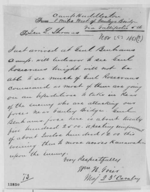 William N. Grier to Lorenzo Thomas, Tuesday, November 05, 1861  (Telegram regarding military affairs)