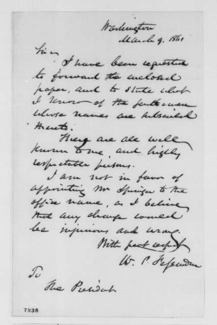 William P. Fessenden to Abraham Lincoln, Saturday, March 09, 1861  (Cover letter)