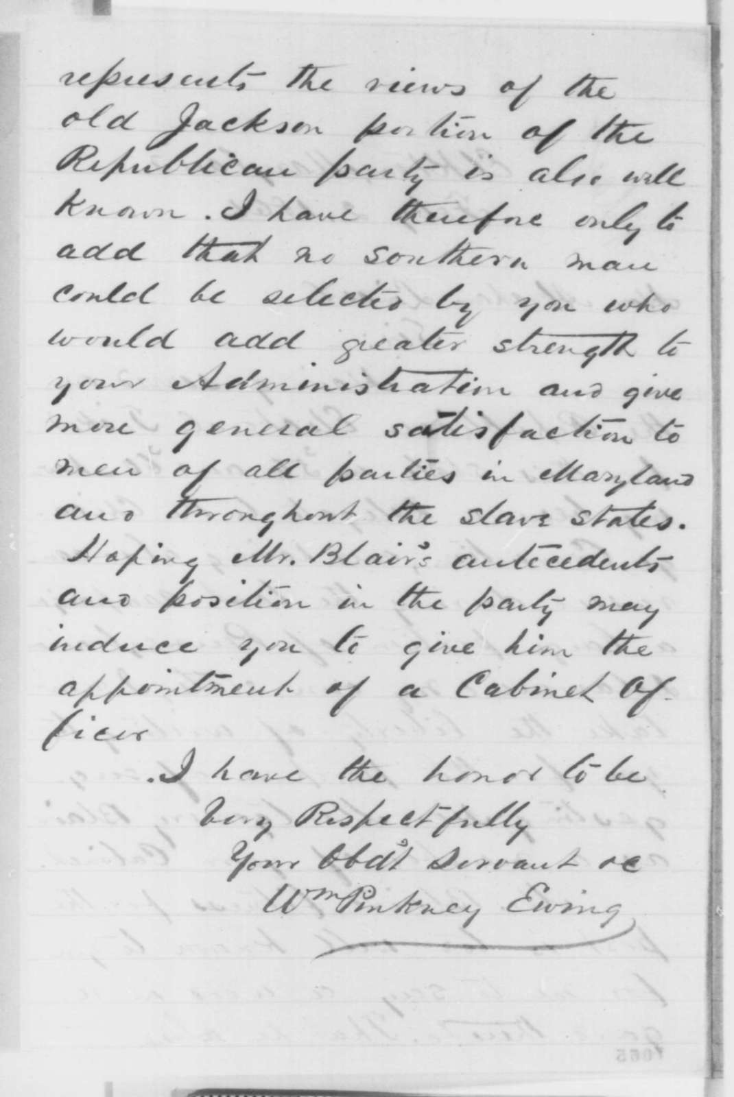 William Pinckney Ewing to Abraham Lincoln, Saturday, February 02, 1861  (Recommends Montgomery Blair for cabinet)