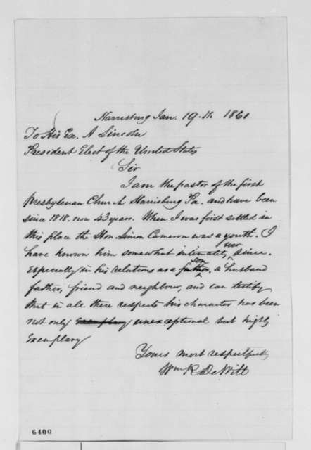 William R. DeWitt to Abraham Lincoln, Saturday, January 19, 1861  (Recommends Cameron)