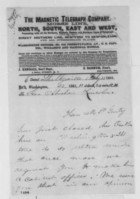 William S. Speer,  et al. to Abraham Lincoln, Saturday, February 23, 1861  (Telegram recommending M. P. Gentry for cabinet)