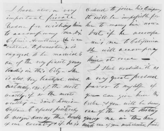 William Selby Harney to Abraham Lincoln, Monday, June 10, 1861  (Request that aid accompany him to new post)