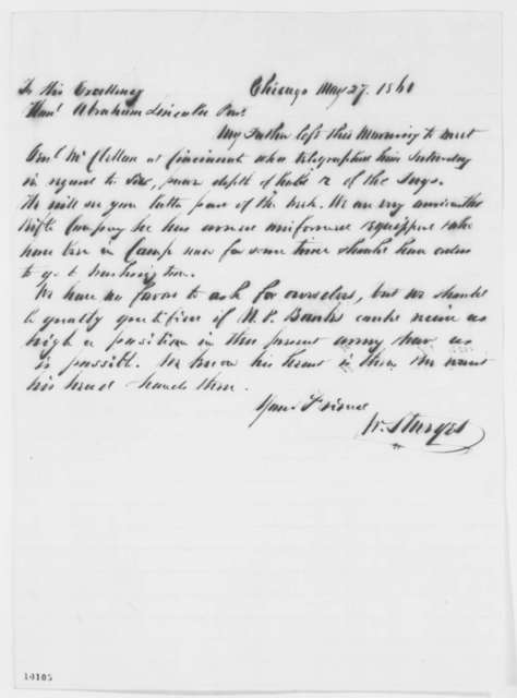 William Sturges to Abraham Lincoln, Monday, May 27, 1861  (Military affairs)
