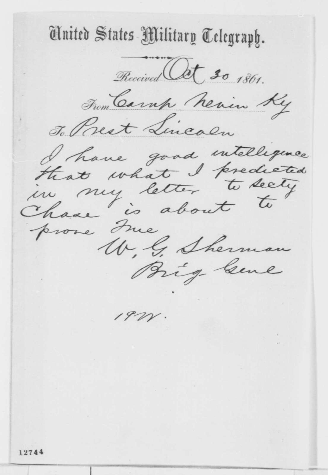 William T. Sherman to Abraham Lincoln, Wednesday, October 30, 1861  (Telegram regarding military affairs)