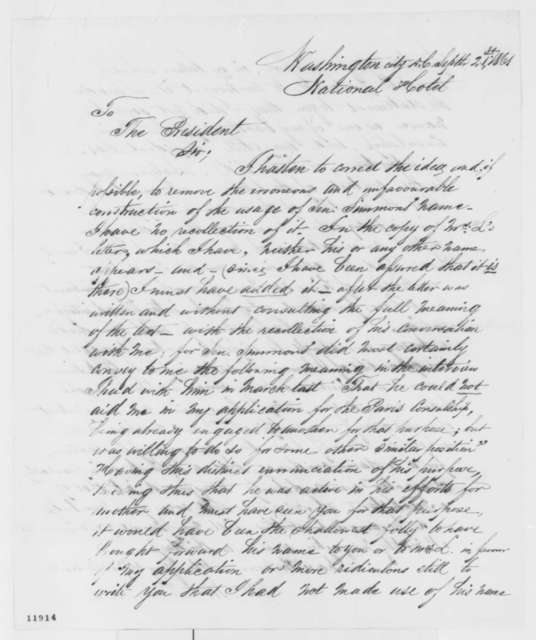William W. Richmond to Abraham Lincoln, Saturday, September 21, 1861  (Confusion regarding a letter of recommendation)