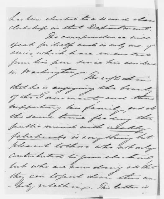 William Walters to Abraham Lincoln, Sunday, February 17, 1861  (Complains about letters written by government clerk)