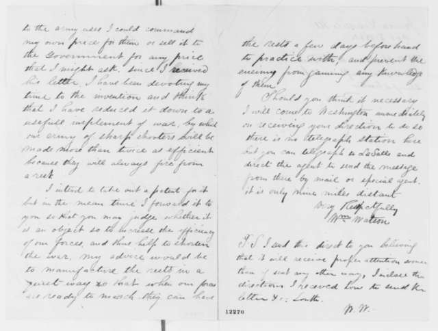 William Watson to Abraham Lincoln, Thursday, October 03, 1861  (Sends rifle rests)