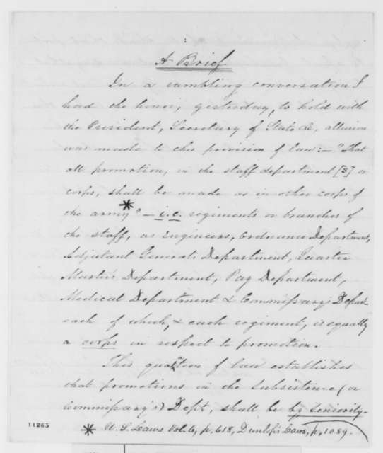 Winfield Scott, Saturday, August 17, 1861  (Legal Brief on army promotions; endorsed by Simon Cameron to Lincoln, August 17, 1861)