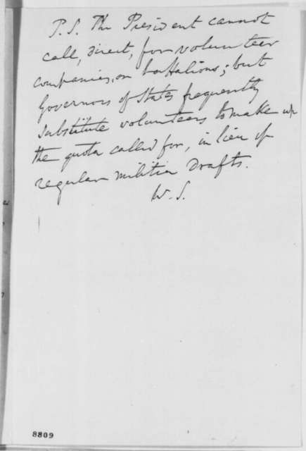 "Winfield Scott to Abraham Lincoln, Friday, April 05, 1861  (""Machinations against the Government"")"