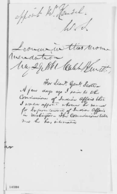 Winfield Scott to Abraham Lincoln, Monday, May 27, 1861  (Recommendation; Endorsed by Abraham Lincoln and Caleb Smith)