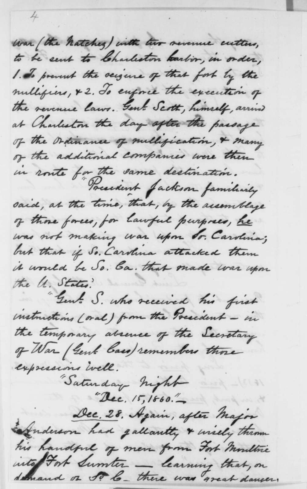 Winfield Scott to Abraham Lincoln, Saturday, March 30, 1861  (Report on Southern forts)
