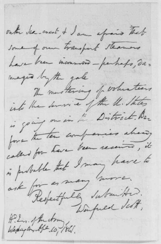 Winfield Scott to Abraham Lincoln, Wednesday, April 10, 1861  (Report on military affairs)