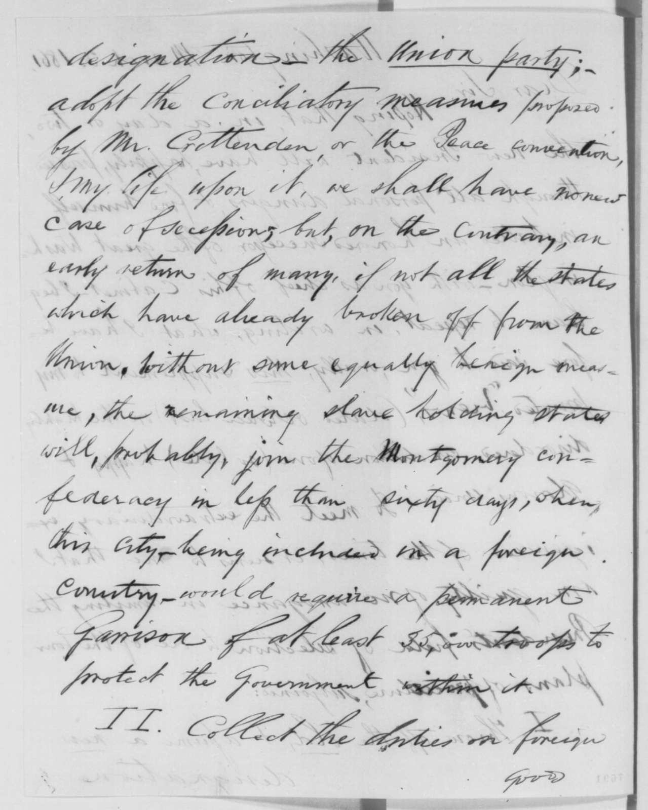 Winfield Scott to William H. Seward, Sunday, March 03, 1861  (Advice on how to handle secession crisis)