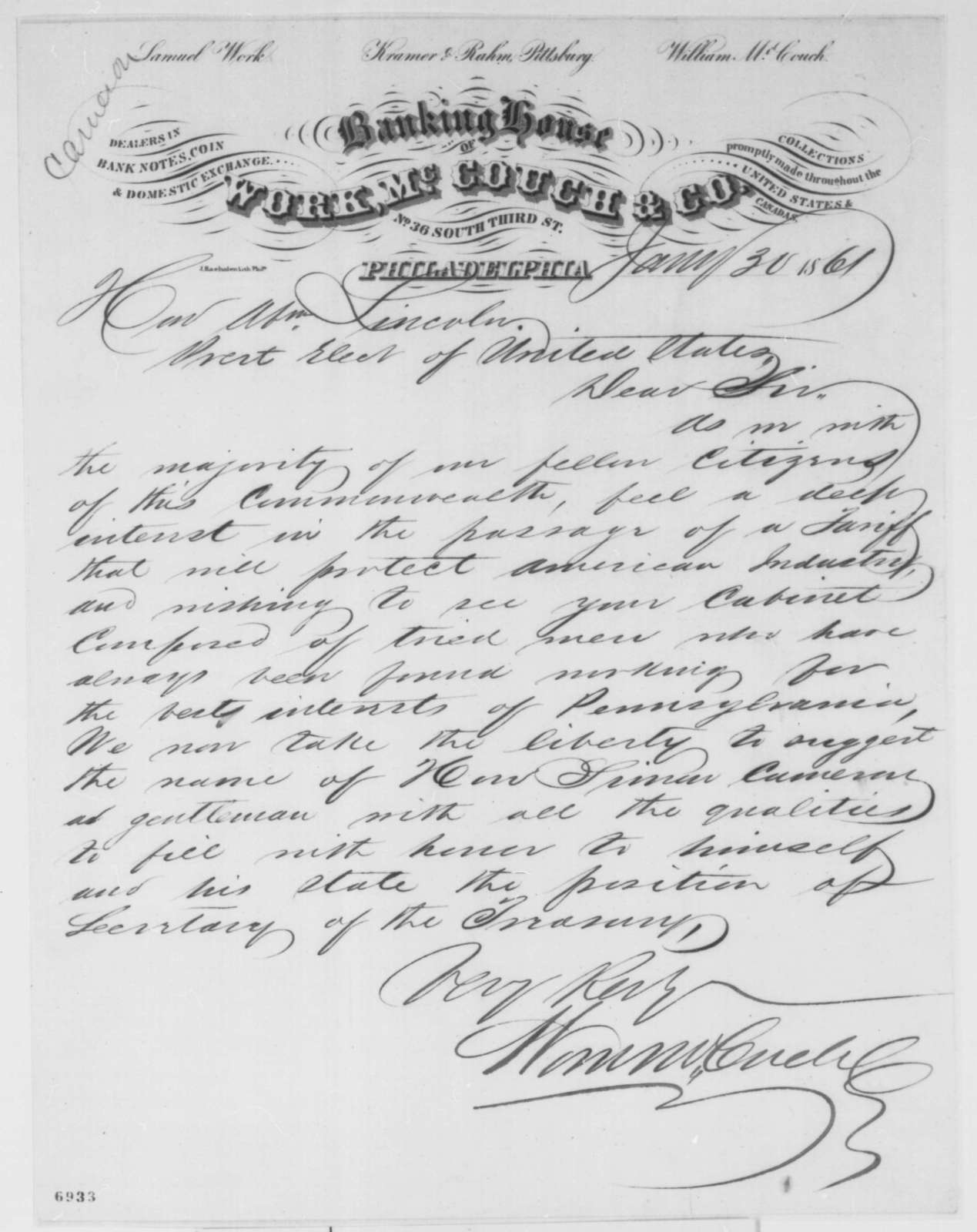 Work, McCouch & Co. to Abraham Lincoln, Wednesday, January 30, 1861  (Recommends Cameron)