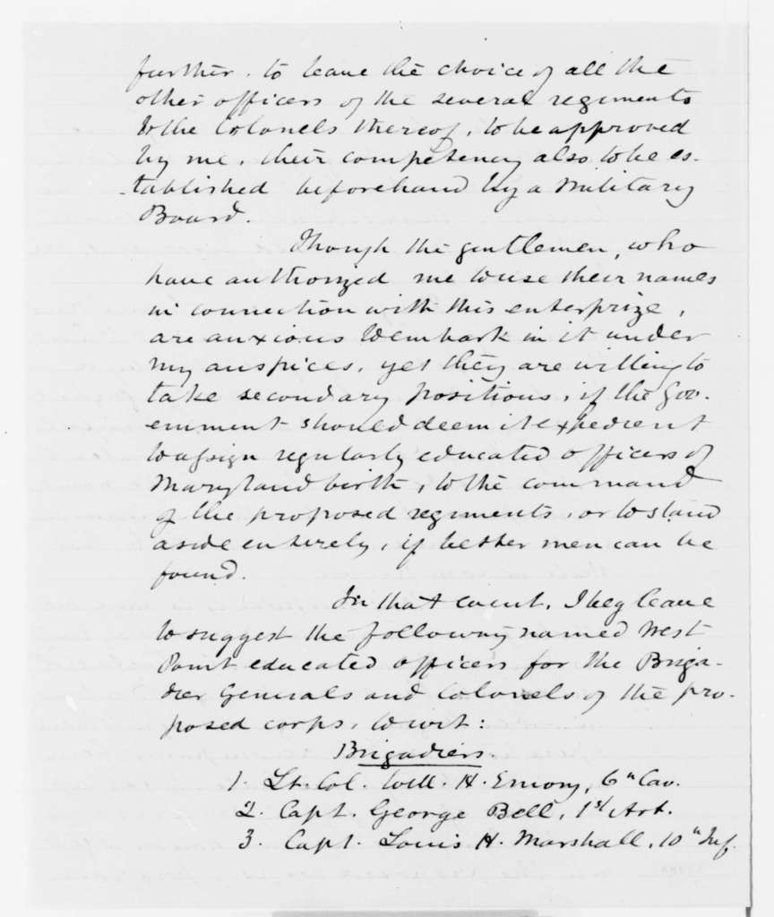 Worthington G. Snethen to Simon Cameron, Saturday, December 07, 1861  (Seeks commission as major general; endorsed by Cameron to Lincoln, Dec. 10, 1861)
