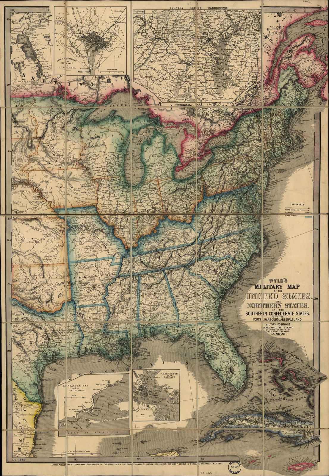 Wyld's military map of the United States, the northern states, and the southern confederate states: with the forts, harbours, arsenals, and military positions.