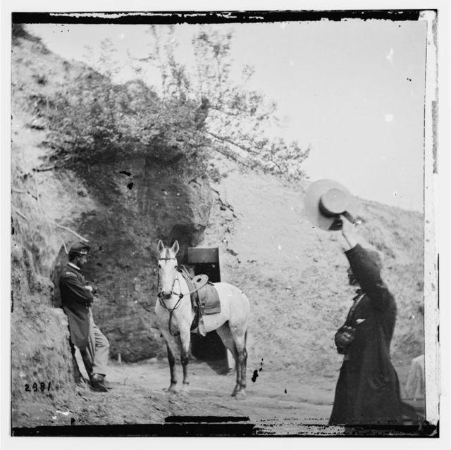 "Yorktown, Virginia. Captain Perkin's ""Sesesh"" horse captured at Cornwallis cave"