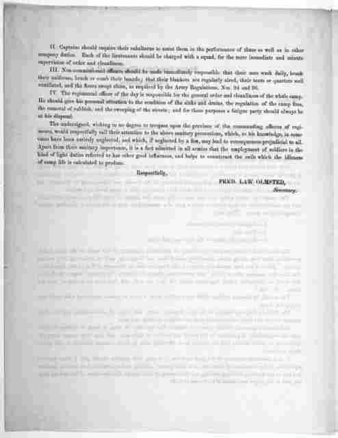 ... Your attention is earnestly and respectfully called by the undersigned to the pressing necessity for the strict observance of the rules of camp police ... Washington [1861].