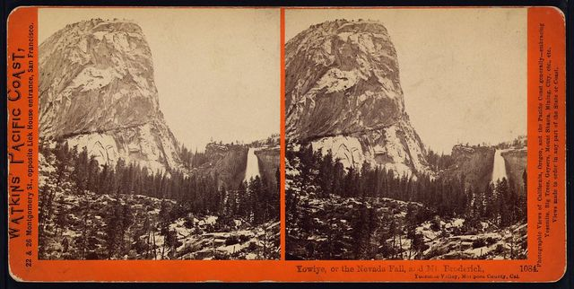 Yowiye, or the Nevada Fall, and Mt. Broderick, Yosemite Valley, Mariposa County, Cal.