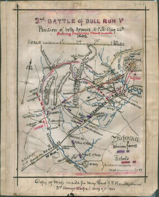 2nd Battle of Bull Run, Va. position of both armies, 6 p.m. Aug. 26th 1862, showing Jackson's flank march.