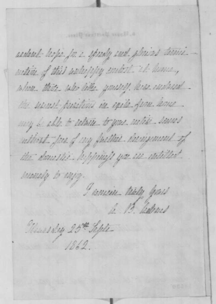 A. B. Adams to Mary F. Carpenter, Thursday, September 25, 1862  (Acknowledgment)