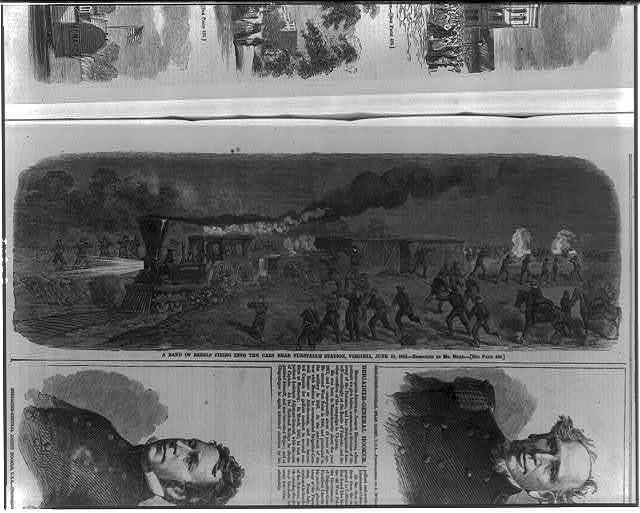 A band of rebels firing into the [railroad] cars near Tunstall's Station, Virginia, June 13, 1862