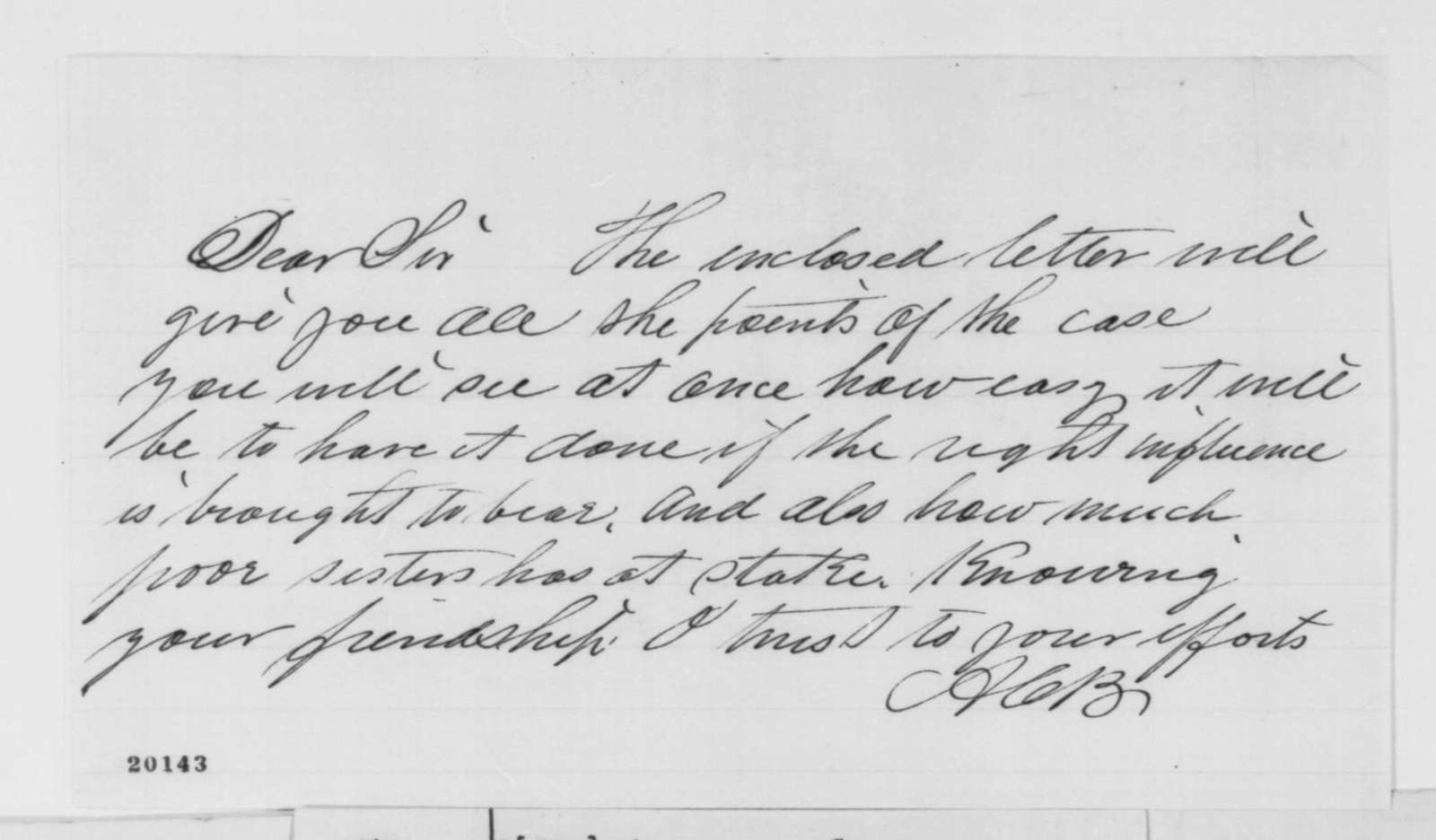 A. C. Baker to B. D. Brown, Saturday, December 13, 1862  (Cover letter)