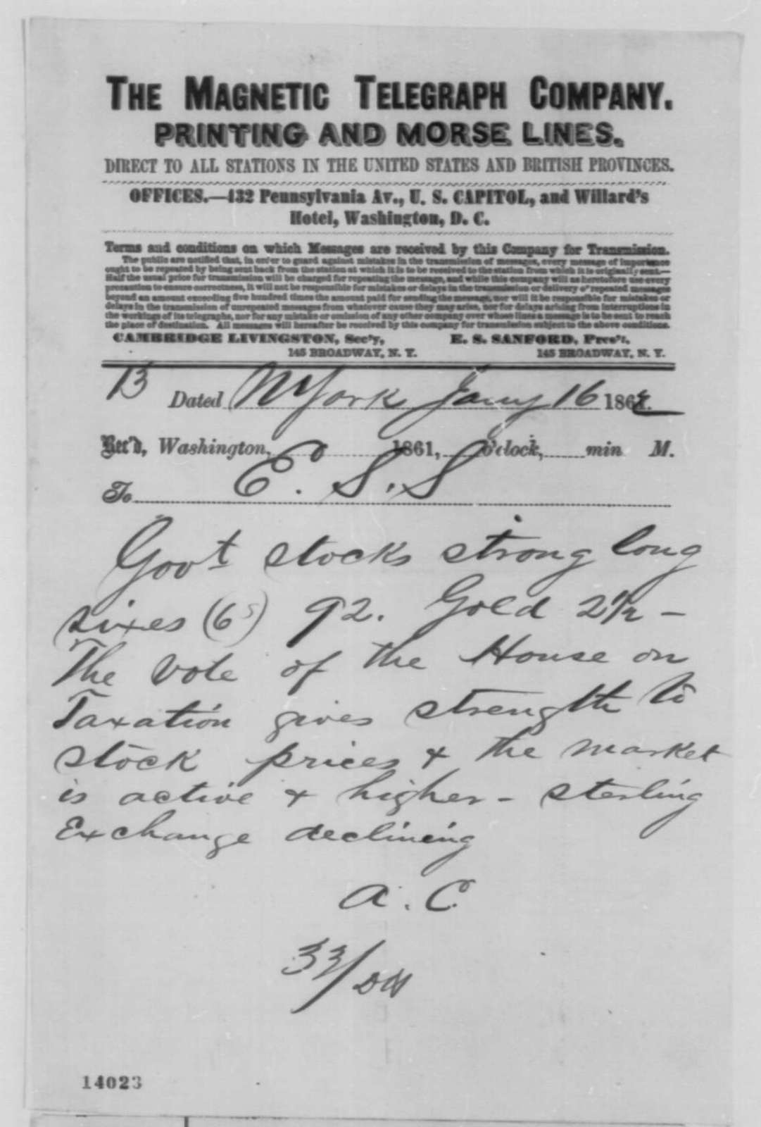 A. Chester to Edward S. Sanford, Thursday, January 16, 1862  (Telegram reporting financial news)