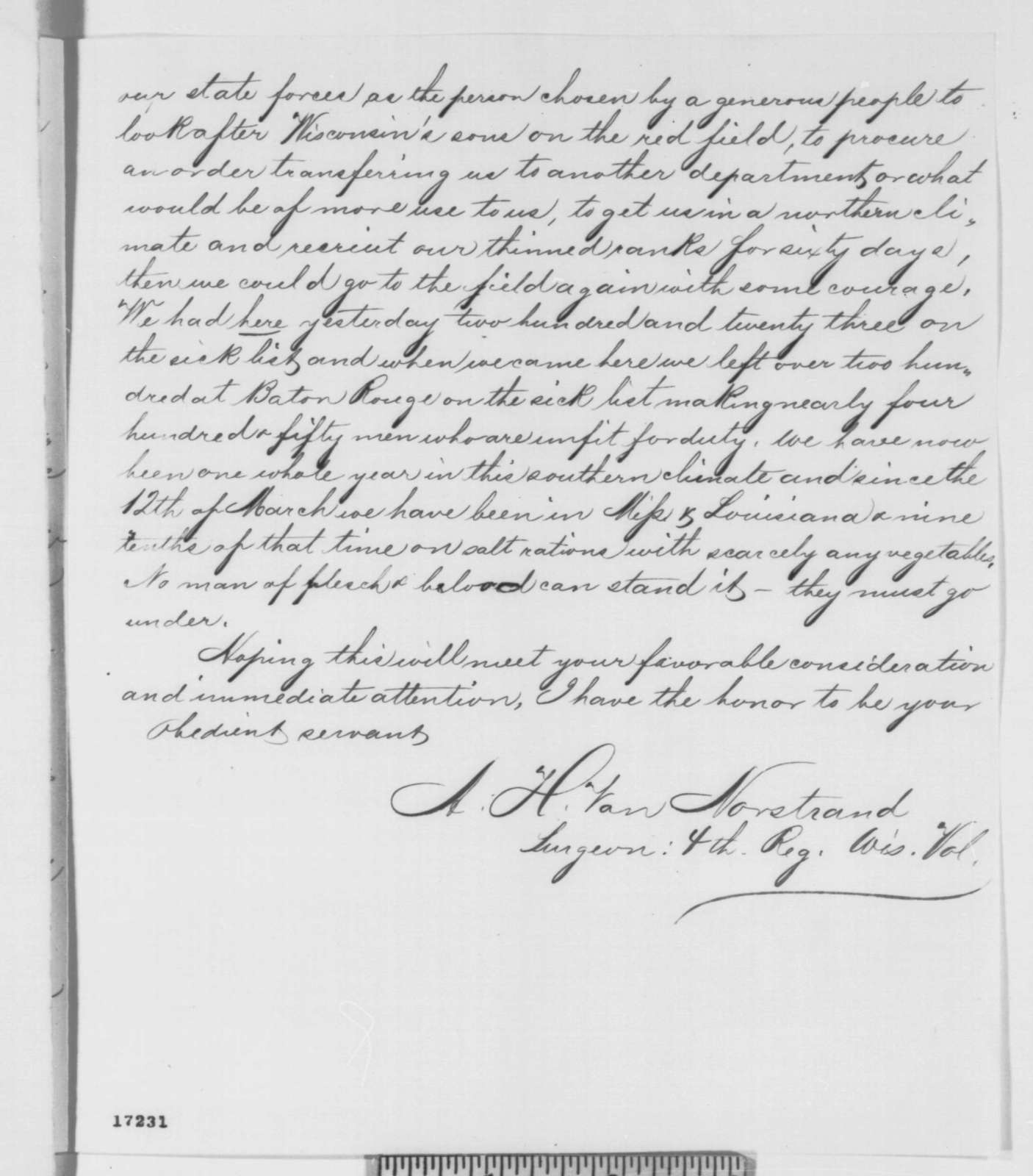 A. H. Van Norstrand to Edward Salomon, Monday, July 21, 1862  (Condition of Wisconsin soldiers near Vicksburg)