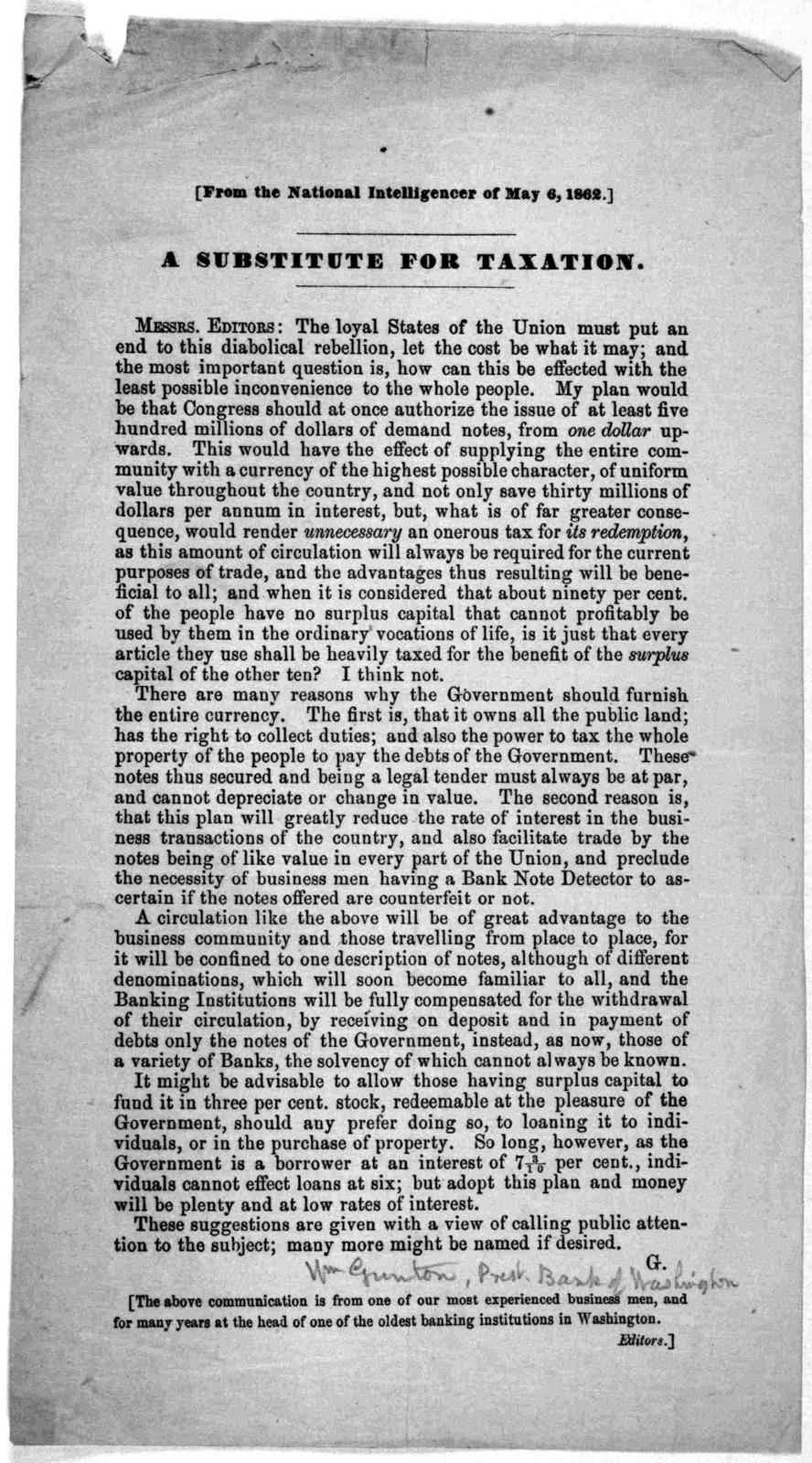 ... A substitute for taxation ... G. [Washington, 1862].