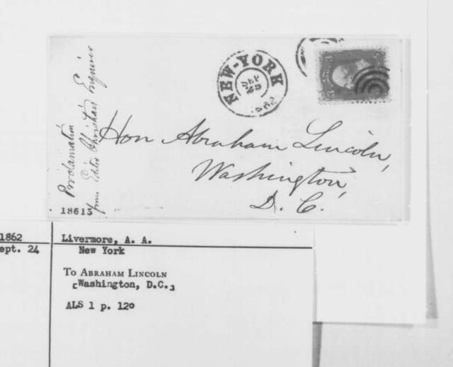 Abiel A. Livermore to Abraham Lincoln, Wednesday, September 24, 1862  (Emancipation Proclamation)